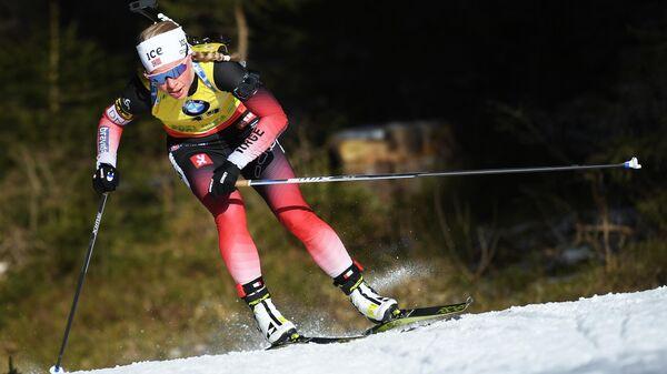 Тириль Экхофф (Норвегия) на дистанции индивидуальной гонки на 15 км среди женщин на шестом этапе Кубка мира по биатлону сезона 2019/20 в словенской Поклюке.