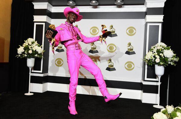 Рэп-исполнитель Lil Nas X на церемонии вручения премии Грэмми в Лос-Анджелесе