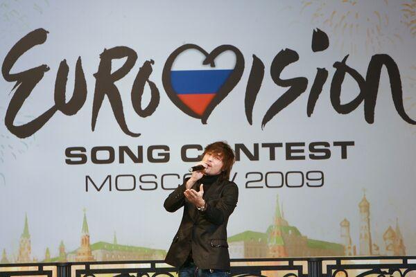 Официальная церемония передачи эстафеты и символа Евровидения мэром Белграда Драганом Джиласом мэру Москвы Юрию Лужкову