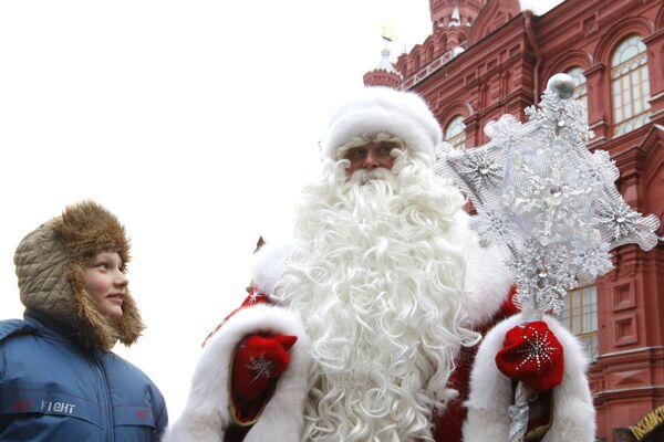 Встреча Деда Мороза на Манежной площади