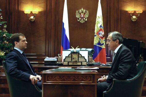 Встреча президента РФ Д.Медведева с главой МИД С.Лавровым