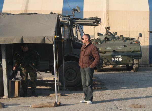 Бельгийский пост KFOR на выезде в сторону Приштины