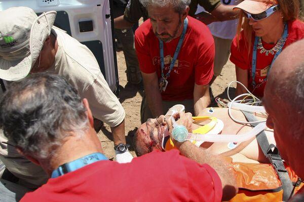 Кристобаль Герреро (КТМ) попал в аварию на десятом этапе Дакар-2009