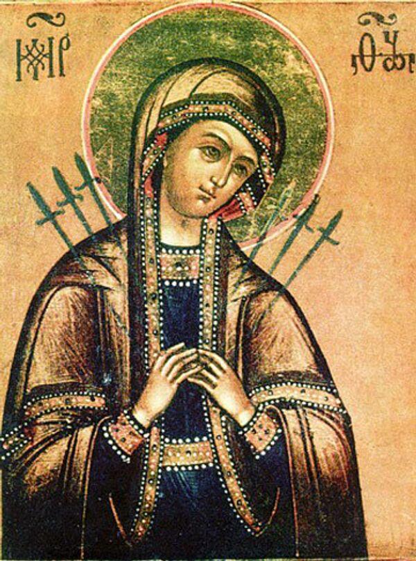 Икона Божией Матери Умягчение злых сердец (Семистрельная)