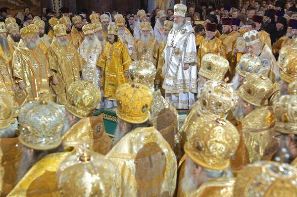 Церемония интронизации 16-го предстоятеля Русской Православной Церкви Патриарха Московского и всея Руси Кирилла