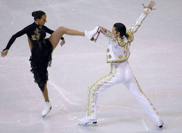 Оксана Домнина и Максим Шабалин на чемпионате мира по фигурному катанию в Лос-Анджелесе