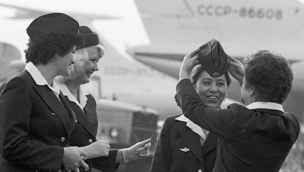 Стюардессы Аэрофлота перед полетом