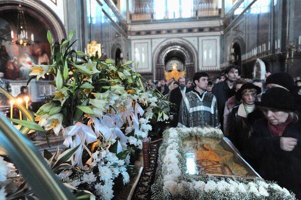 Утреня с чином погребения Плащаницы в Храме Христа Спасителя. Архив.