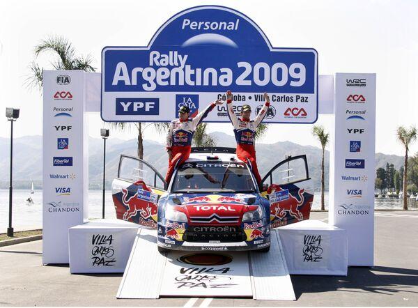 Себастьян Лоэб празднует победу в Ралли Аргентины