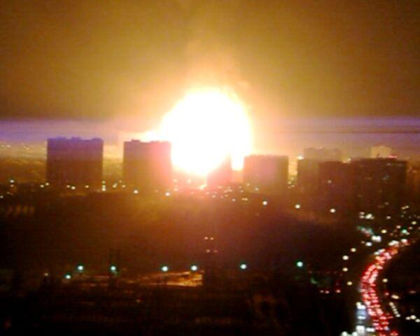 Пожар на газопроводе в Москве