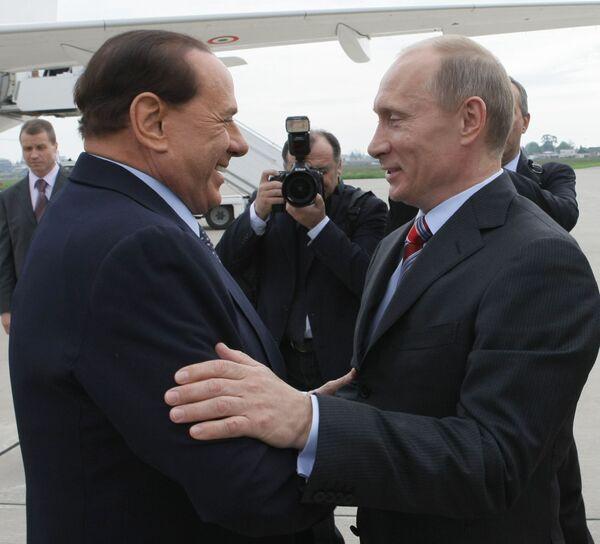 Встреча Владимира Путина и Сильвио Берлускони в Сочи