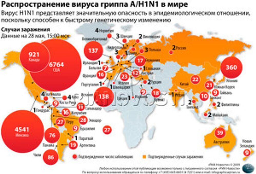 В России подтвержден первый случай заражения свиным гриппом A/H1N1