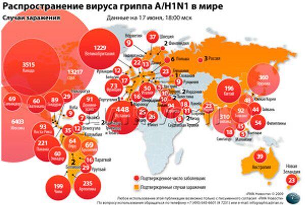 Распространение вируса гриппа A/H1N1 (15.06.09)