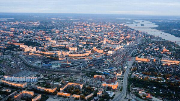 Панорама города Новосибирска. Архив