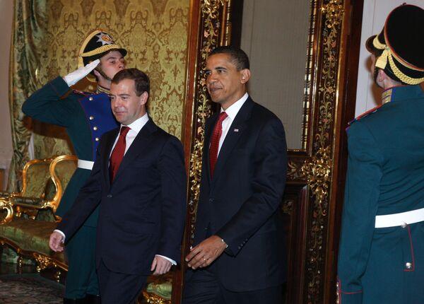 Встреча президента РФ Д.Медведева и президента США Б. Обамы в Кремле