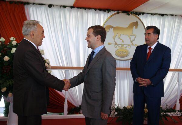 Президент России Дмитрий Медведев и президент Казахстана Нурсултан Назарбаев