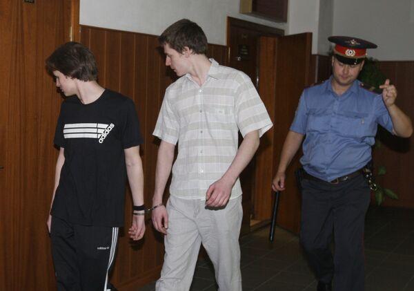 Студенты Дмитрий Медведев и Иван Новиков, признанные виновными в убийстве Леонида Барона