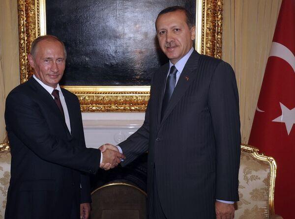 Премьер-министр РФ Владимира Путин и премьер-министр Турции Реджеп Тайип Эрдоган