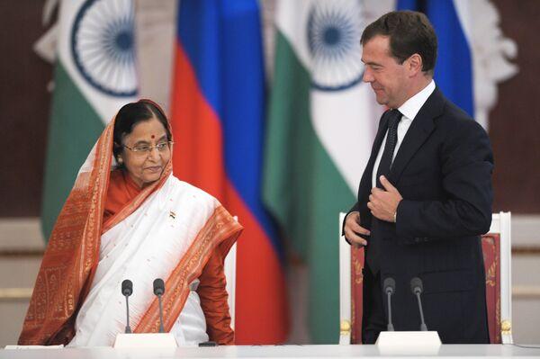 Президенты России и Индии Дмитрий Медведев и Пратибха Патил