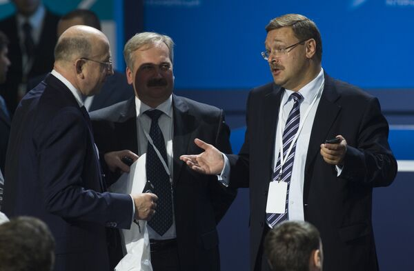 Владимир Плигин и Константин Косачев на международной конференции в Ярославле