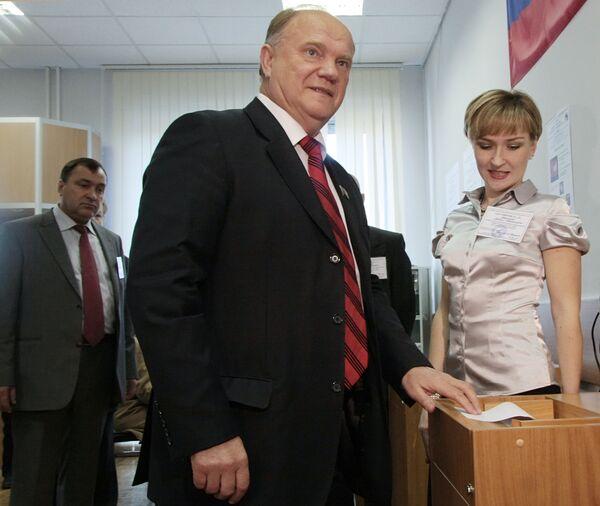 Лидер КПРФ Геннадий Зюганов на выборах