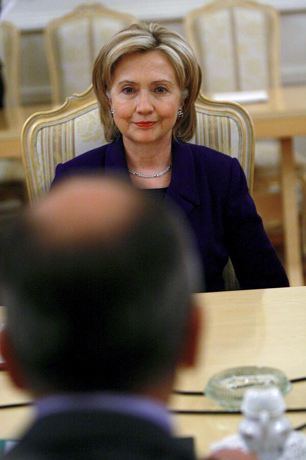 Госсекретарь США Хиллари Клинтон на встрече с главой МИД РФ
