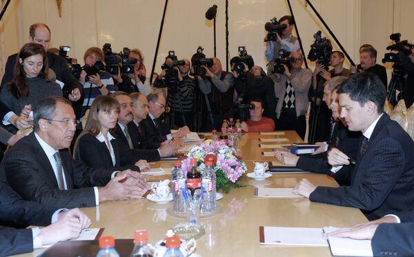 Встреча глав МИД России и Великобритании С.Лаврова и Д.Милибэнда в Москве