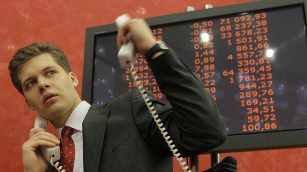 Работа Московской межбанковской валютной биржи (ММВБ). Архив
