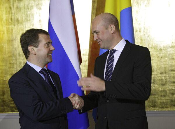 Президент РФ Д.Медведев провел переговоры с премьер-министром Швеции Ф.Рейнфельдтом