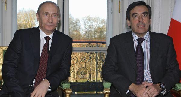 Премьер-министры России и Франции Владимир Путин и Франсуа Фийон. Архив