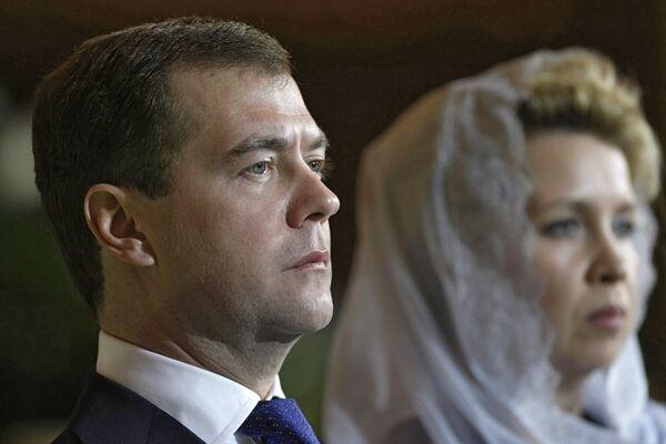 Президент РФ Д.Медведев на рождественском богослужении в храме Христа Спасителя