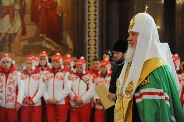 Патриарх Кирилл проводил российских олимпийцев в Ванкувер
