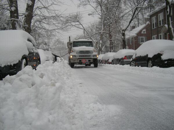 Снегопад в Нью-Йорке 10 февраля 2010 года.