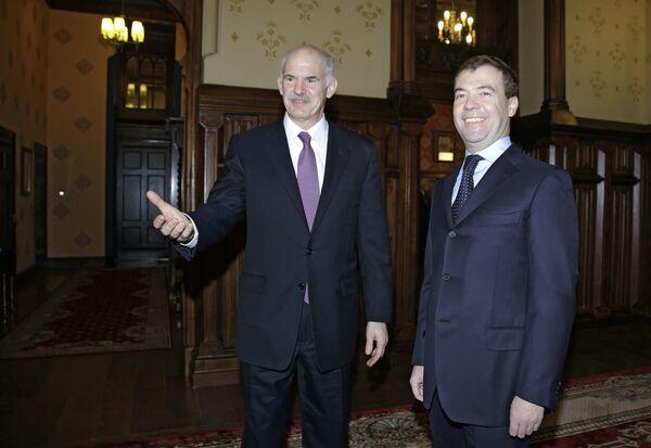 Президент РФ Дмитрий Медведев встретился с премьер-министром Греции
