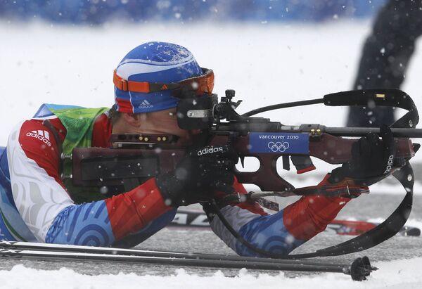 Российский биатлонист Евгений Устюгов на Олимпиаде в Ванкувере. Архив