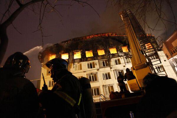 Пожар в бизнес-центре на севере Москвы