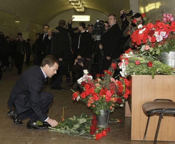 Президент России Д.Медведев посетил станцию метро Лубянка