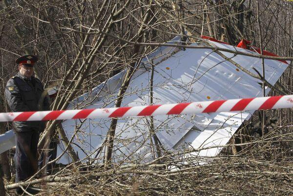 На месте крушения самолета президента Польши под Смоленском