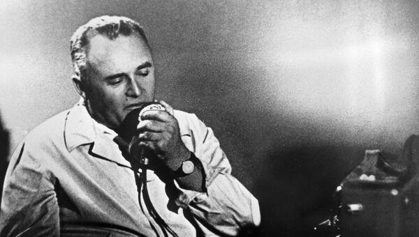 Академик Сергей Королев во время запуска Востока с Юрием Гагариным