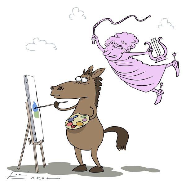 Рисунок смешной лошади