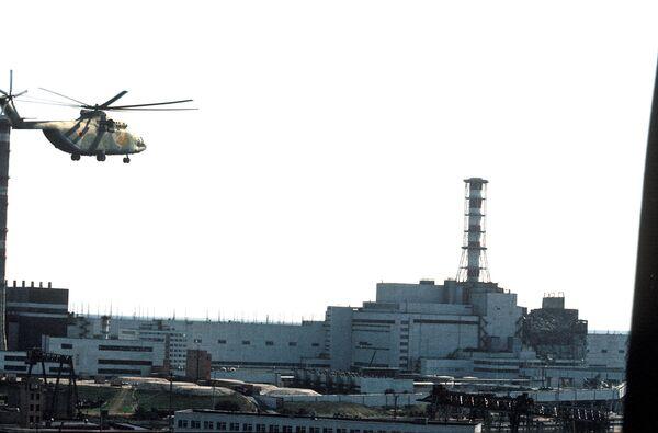 Чернобыльская АЭС после авариии
