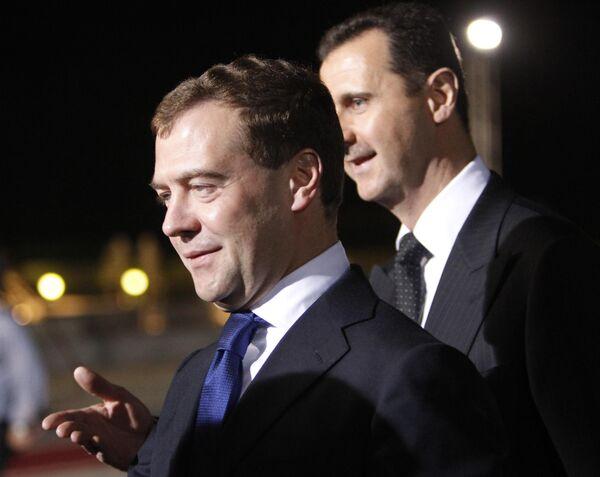 Президенты России и Сирии в Дамаске