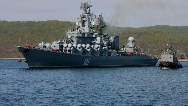 Встреча ракетного крейсера Москва в Приморском крае