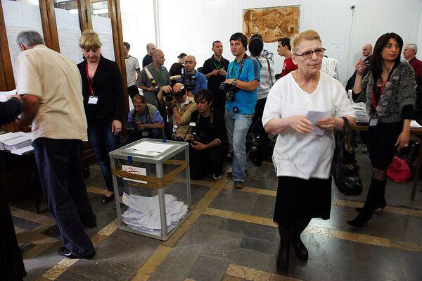 Избирательный участок на выборах в Грузии