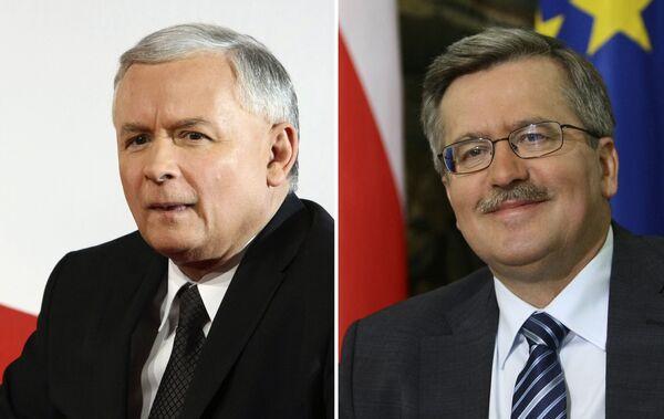 Кандидаты в президенты Польши: Ярослав Качиньский (слева), Бронислав Коморовский