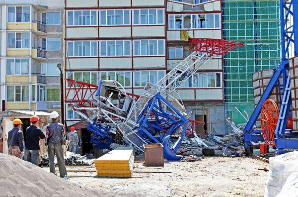 Падение башенного крана в Петропавловске-Камчатском