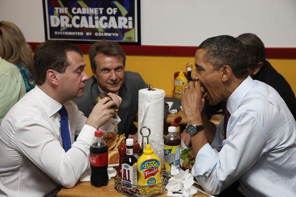 Рабочий завтрак Дмитрия Медведева с Бараком Обамой