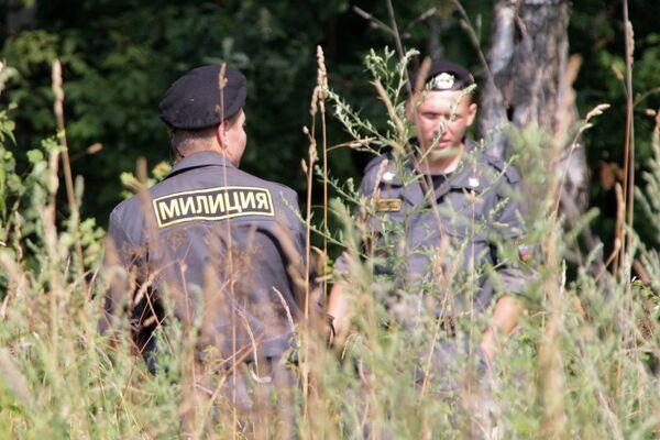 Оцепление места вырубки деревьев в Химкинском лесу