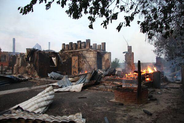 Последствия природного пожара в Подмосковной деревне Городец. Архив