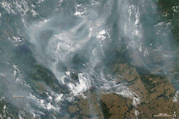 Пожары и дым в Подмосковье. Вид из космоса